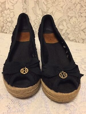 4804465c45cc TORY BURCH SZ 6B US Black Fabric Lace Crochet Wedge Heel Peep Toe Logo