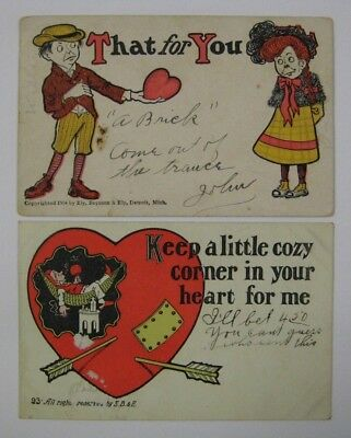 Vintage Lot Early 1900's Valentines Day Postcard Antique E.B. & E. Ely Comic