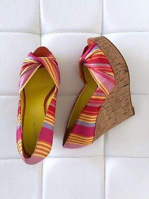 d5b699dee53 NINE WEST Size 7 Yellow Pink Wedge Sandals SKY HIGH Platform Heels Shoes  Women s