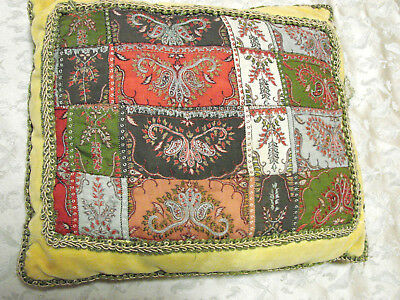 Vintage Pillow Velvet Damask Embroidery Quilt 11x12