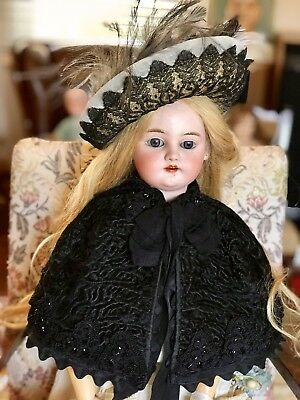 Fur Cape And Straw Hat For Antique Bisque Porcelain Doll.