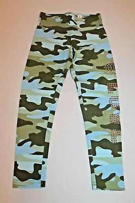 Justice Green & Blue Camo Leggings Girl Size 6 Active Wear Legging Pants NEW