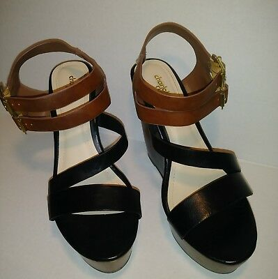 d4fc23d29 Charlotte Russe Women's Size 10 Black Brown Double Buckle Platform Wedge  Heels