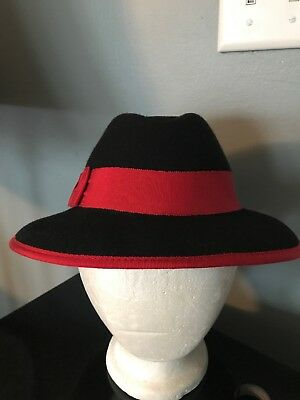 Vintage George W Bollman Doeskin Felt 100% Wool Black With Red Ribbing Hat a6784dd9205a