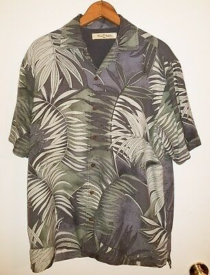 7eee2106 Men's Tommy Bahama Button Front Shirt Size S Small Silk Palms Tropical GUC