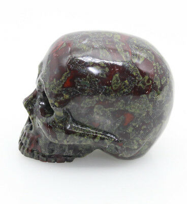 Collectibles hand carved dragon bloodstone jade skull head decoration D625