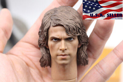 "1/6 Scale Anakin Skywalker Head Sculpt Star Wars For 12"" Hot Toys Figure ❶USA❶"