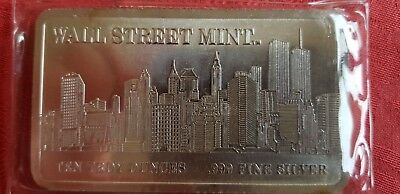 10 oz  Silver bar WALL STREET