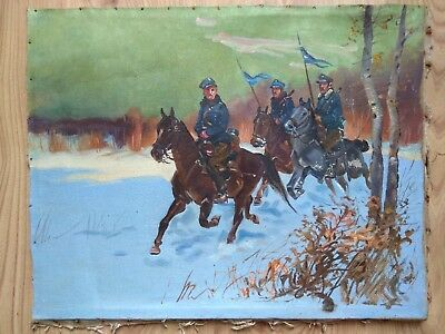 Vintage Oil Painting Polish soldiers in the forest on horses winter Military