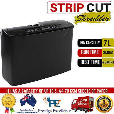 5 Sheet Strip Cut Shredder Paper Document 7L Electric Office Home P1 Security A4