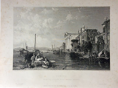 After C Stansfield RA VENICE c1849 Original Antique steel engraved Print, Art