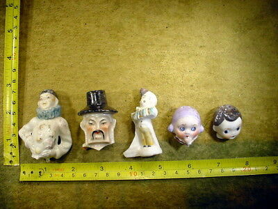 5 x excavated vintage art deco doll head for mixed media altered Art 12367