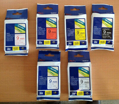 GENUINE  BROTHER P TOUCH TZE TAPES 9mm x 8m. CHOICE OF COLOURS