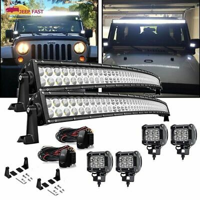"""For OFFROAD SUV 4WD ATV VS 50"""" Curved Led Light Bar+4x4"""" 18W pods  Kit"""