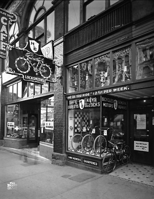 "1923 Haskins & Elliot Bicycles, Vancouver Vintage Old Photo 8.5"" x 11"" Reprint"