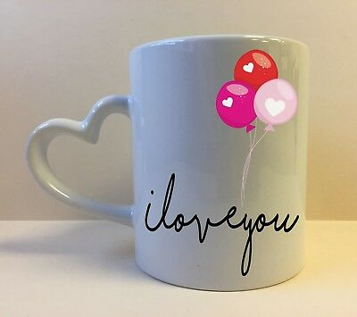 Heart Handle Love You Balloons Valentines Gift Mug Coffee Tea Cup Personalised