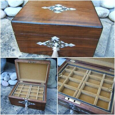 Wonderful 19C Figured Walnut Inlaid Antique Jewellery Box - Fab Interior
