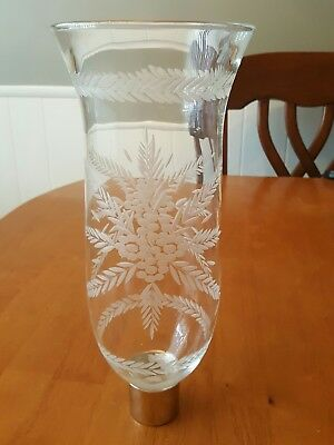 Antique  / Vintage  Heavy Glass Hurricane  Oil / Candle Stick Shade