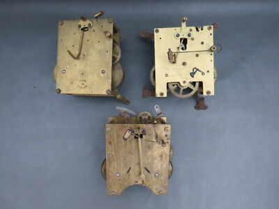 Job lot of 3 vintage clock movements for parts spares steampunk