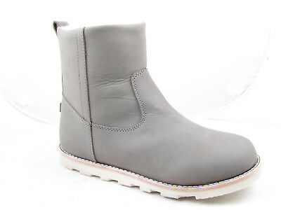 Young Girls Grey Leather Nubuck Fur Lined Flat Ankle Boots with Side Zip Enfant