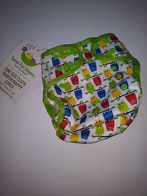 Sweet Pea Diapers one size cloth diaper nappy cover owl print red blue green
