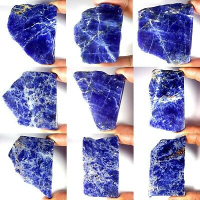 Natural Blue Sodalite Slab Untreated Rare Rock Polished Rough For Cabbing PS02