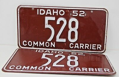 1952 IDAHO License Plate Collectible Antique Vintage Matching Set Pair 528 Rare