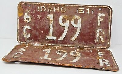 1951 IDAHO License Plate Collectible Antique Vintage Matching Set Pair 6C 199
