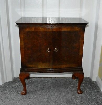 Vintage Small Serpentine Fronted Cabinet in Burr Walnut