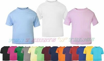 Baby Toddler T-Shirt Unisex Plain Short Sleeve 100% Cotton 0 - 3 years