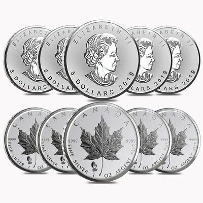 Lot of 10 - 2019 1 oz Silver Canadian Maple Leaf Phonograph Privy Reverse Proof