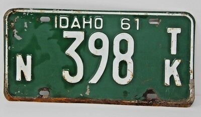 1961 IDAHO License Plate Collectible Antique Vintage Famous Potatoes N 398 TK