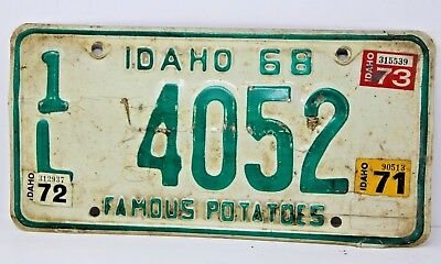 1968 IDAHO License Plate Collectible Antique Vintage Famous Potatoes 1L 4052