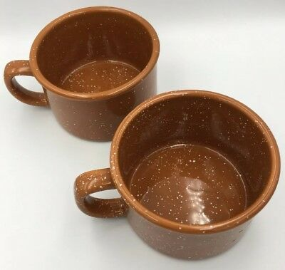 Starbucks 2006 Camping Camp Style Mugs Speckled Terracotta Color Low New HTF