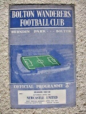 BOLTON WANDERERS v NEWCASTLE UNITED 1957-58 LEAGUE DIVISION 1 PROGRAMME