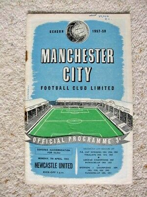 MANCHESTER CITY v NEWCASTLE UNITED 1957-58 LEAGUE DIVISION 1 PROGRAMME