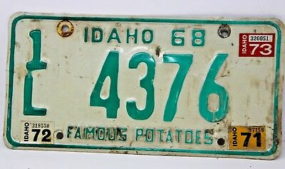 1968 IDAHO License Plate Collectible Antique Vintage Famous Potatoes 1L 4376