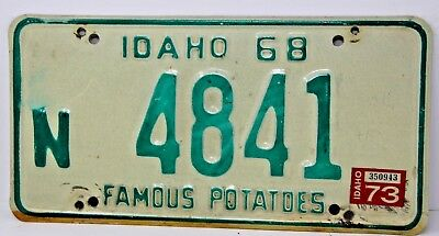 1968 IDAHO License Plate Collectible Antique Vintage Famous Potatoes N 4841