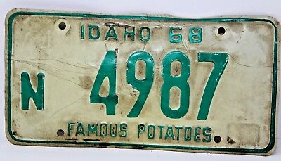 1968 IDAHO License Plate Collectible Antique Vintage Famous Potatoes N 4987