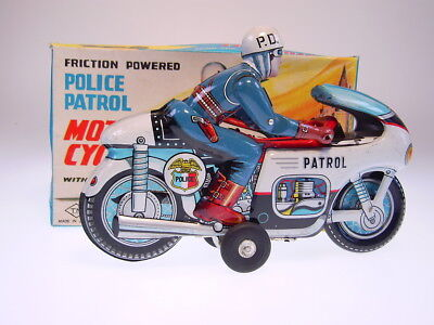 "GSMOTO *POLICE PATROL"" T.N.JAPAN 1960s, FRICTION OK, NEARLY NEWnGOOD BOX !"