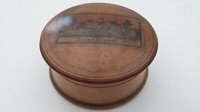 Vintage possibly antique Mauchline Ware trinket / snuff box - Ruine Kynast.