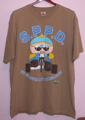 Vintage 90s South Park Police Department To Serve And Neglect T Shirt Green XL