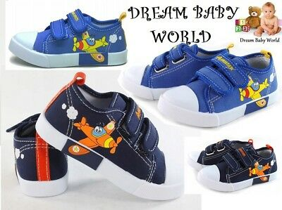 BOYS Canvas shoes trainers BABY BOY Real leather insoles size 4UK BOX NEW