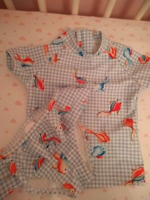 Next Worn Once! Baby Girl Fish Two Piece Swimming Costume 3-6 Months