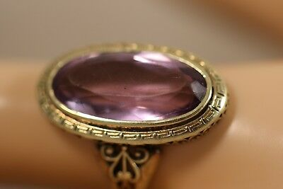 Antique 15K 14K Yellow Gold 8Ct Amethyst Heart Flower Art Deco Greek Key Ring