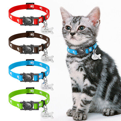 Nylon Breakaway Cat Collar Quick Release Personalized ID Fish Tag for Pet Kitten