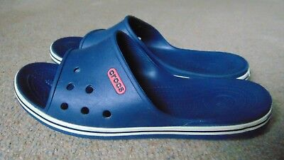 Men's Crocs Crocband 2 Sliders Slip On Beach Sandals Size 12 in Navy Blue