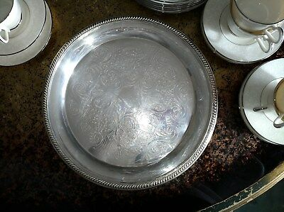 "VINTAGE F.B.ROGERS SILVER Co-USA- large silver plated tray 12 3/4"" - excellent"