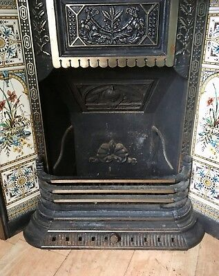Victorian Cast Iron Fire Place Surround Original Tiles Antique Vintage Stunning