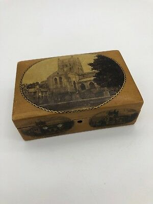 Small Vintage Wooden Storage Box with The Abbey Church Rare